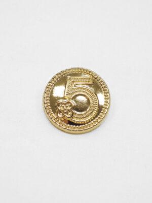 Пуговица маленькая металл золото цифра 5 с окантовкой (p0931) к20 - Фото 9