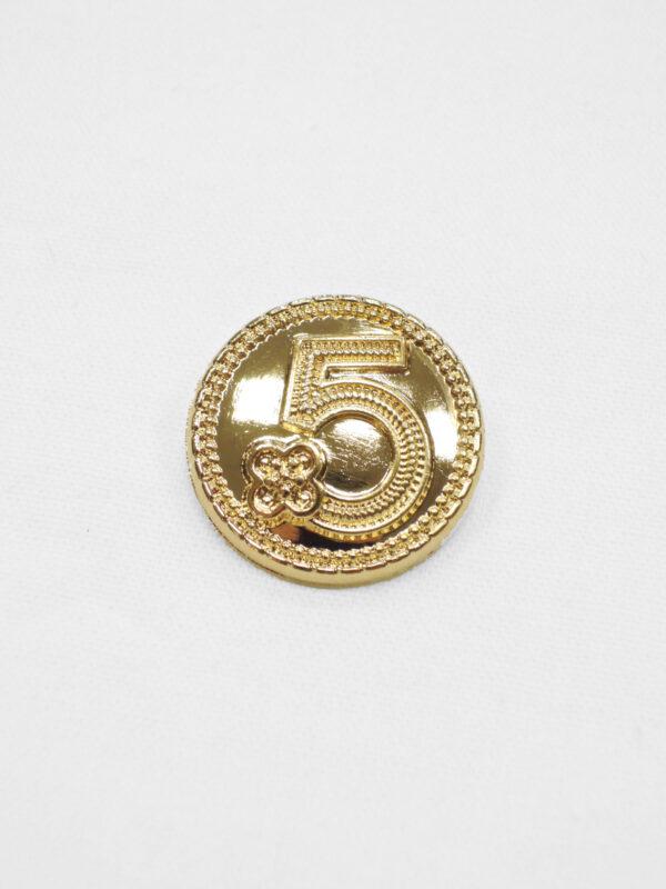 Пуговица маленькая металл золото цифра 5 с окантовкой (p0931) к20 - Фото 6