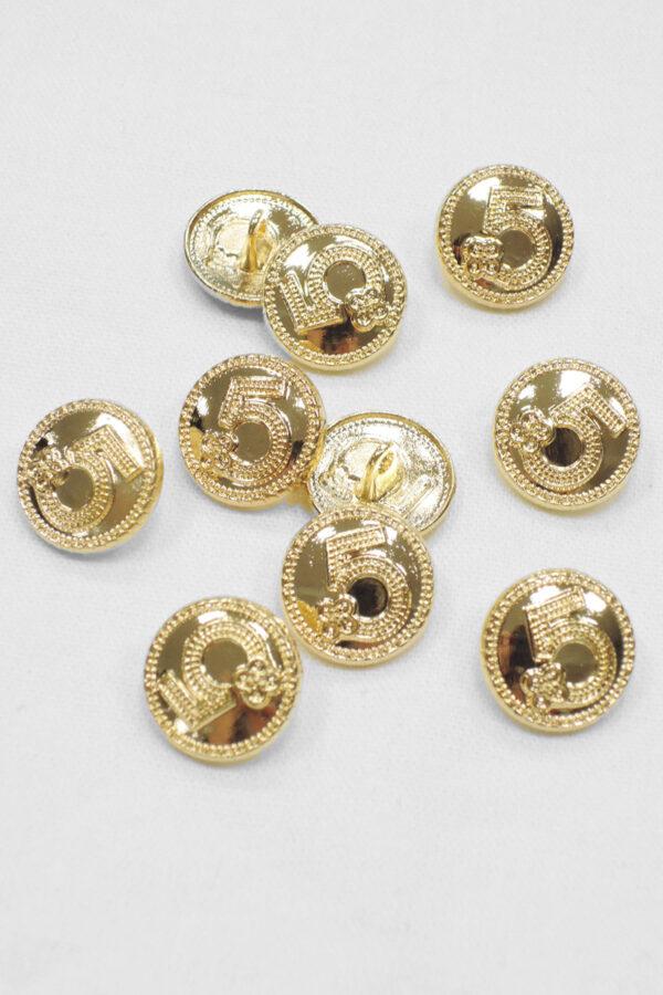 Пуговица маленькая металл золото цифра 5 с окантовкой (p0931) к20 - Фото 8
