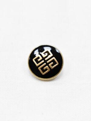 Пуговицы металл золото черная эмаль с узором (p0965) - Фото 15