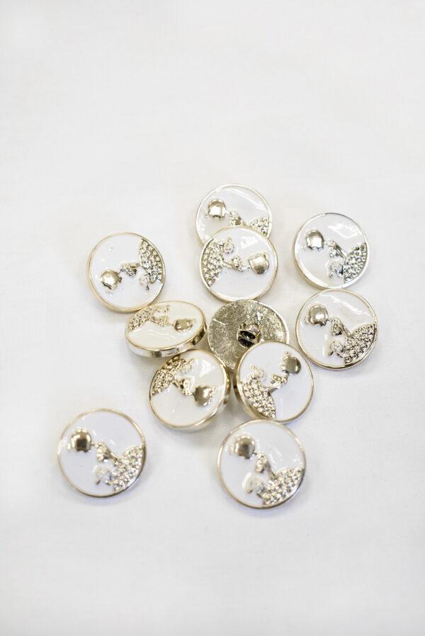 Пуговицы пластик эмаль белые с светло-золотистой девушкой (р1003) к19 - Фото 8