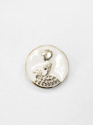 Пуговицы пластик эмаль белые с светло-золотистой девушкой (р1003) - Фото 12