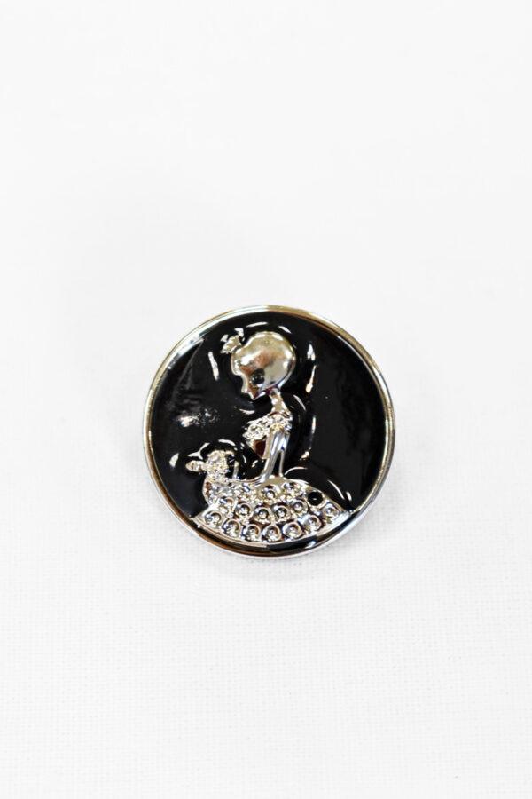 Пуговицы пластик эмаль черные с принцессой пальтовые 25мм (р1004) к19 - Фото 6