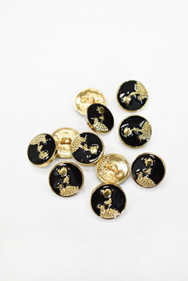Пуговицы металл эмаль черные с золотой девушкой (р1006) к19 - Фото 8