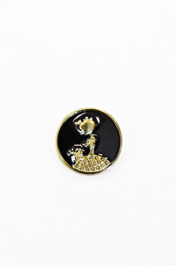 Пуговицы металл эмаль черные с золотой девушкой (р1006) к19 - Фото 6
