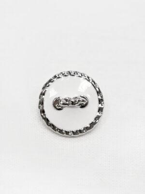 Пуговица пластик белая эмаль с серебряной окантовкой в виде цепи (p1017) - Фото 11