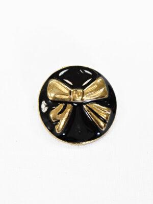 Пуговица металл эмаль черная с золотым бантиком (p1018) - Фото 12