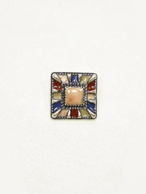 Пуговица квадратная состаренное серебро с цветными вставками (p1073) - Фото 13