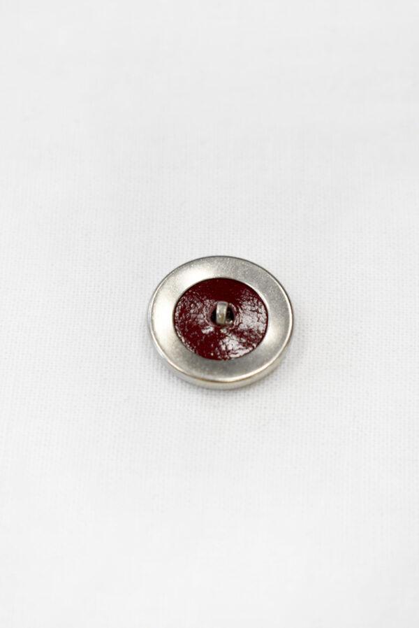 Пуговица маленькая обтянута бордовой кожей (р1122) - Фото 7