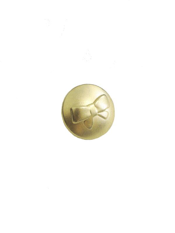 Пуговица металл золото с выбитым бантиком