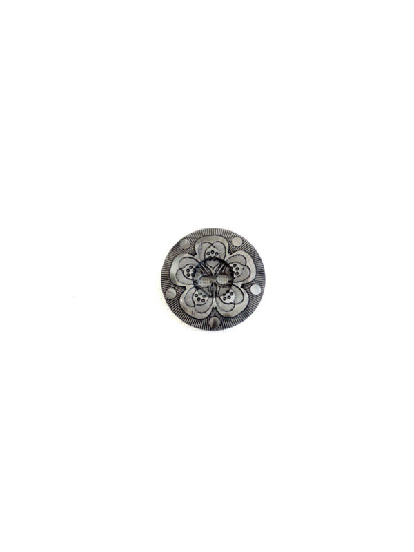 Пуговица пластик серая на два прокола с выбитым цветком (P0052) к16в - Фото 6