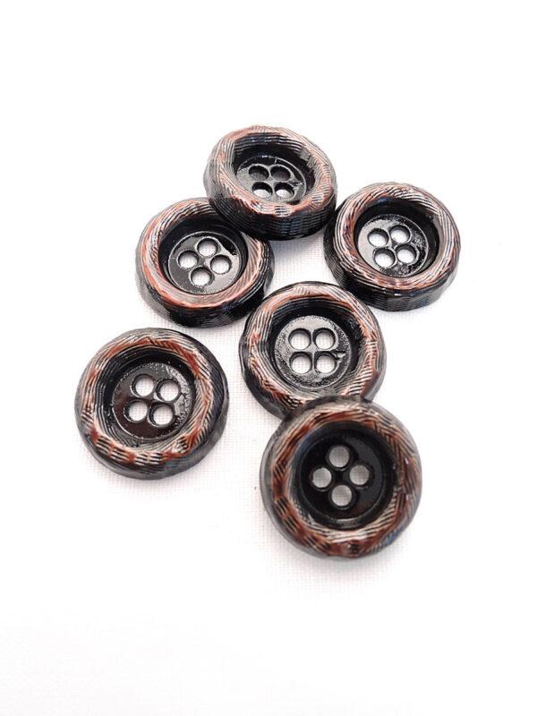Пуговица металл на четыре прокола коричневая большая 2