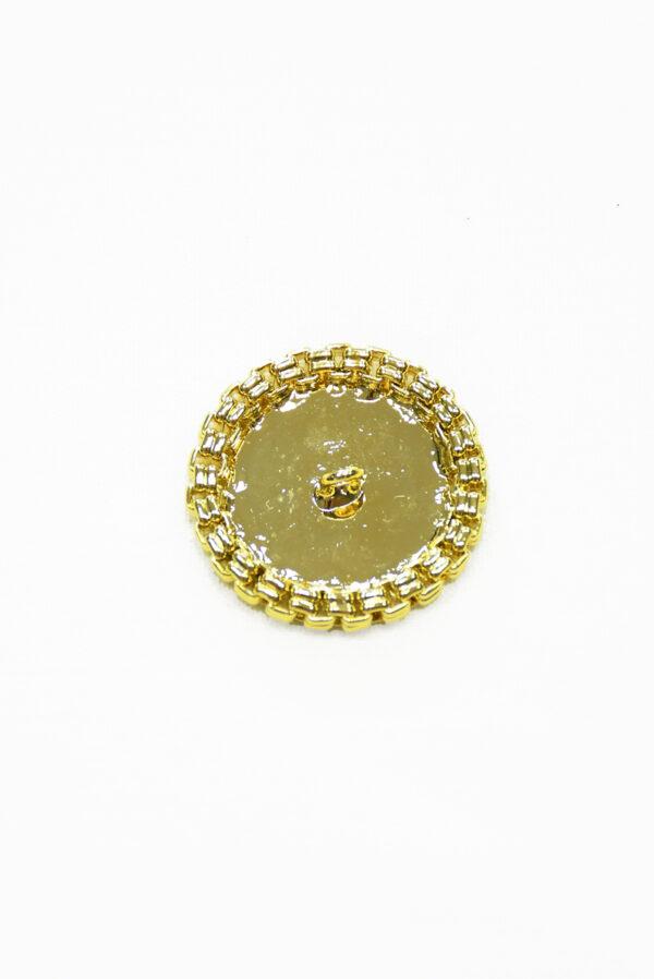 Пуговица большая металлическая золотая с каемкой 3