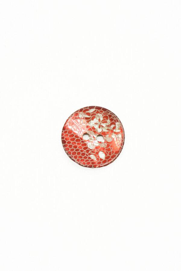Пуговица пластик кораллово-красная с цветами