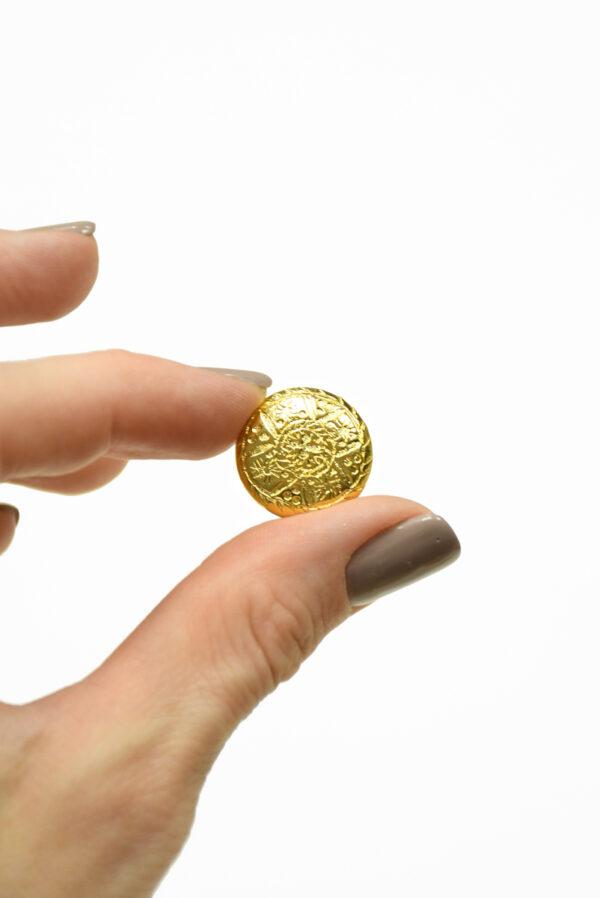 Пуговица маленькая металл золото с рисунком 3