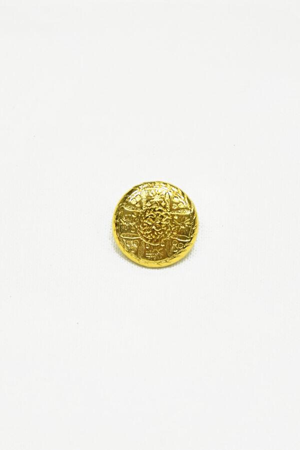 Пуговица маленькая металл золото с рисунком