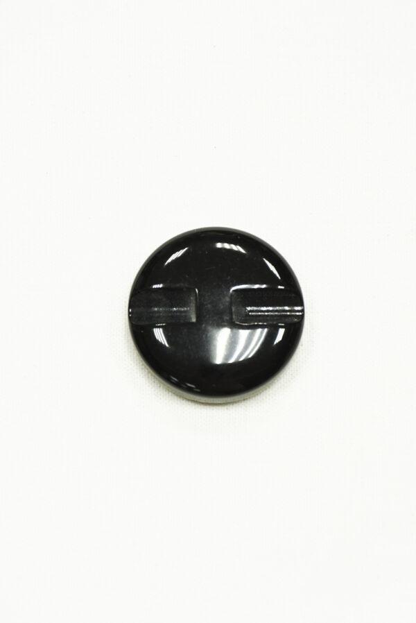 Пуговица пластик черная с листьями крупная 1