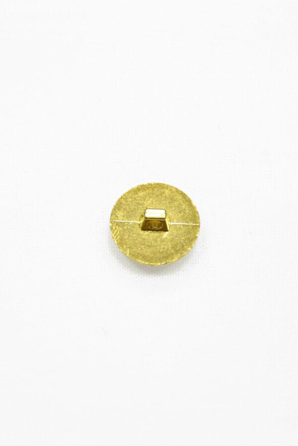 Пуговица пластик золотая с кристаллом 2