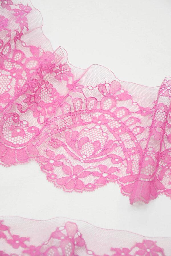 Кружево отделочное розовое орнамент цветы 4