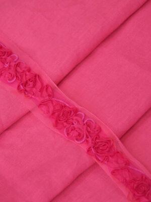 Тесьма цветы из ткани на сетке яркий оттенок фуксия (t0169) т-15 - Фото 12