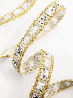Тесьма отделочная с золотым люрексом  и серым рисунком (t0170) т-14 - Фото 13