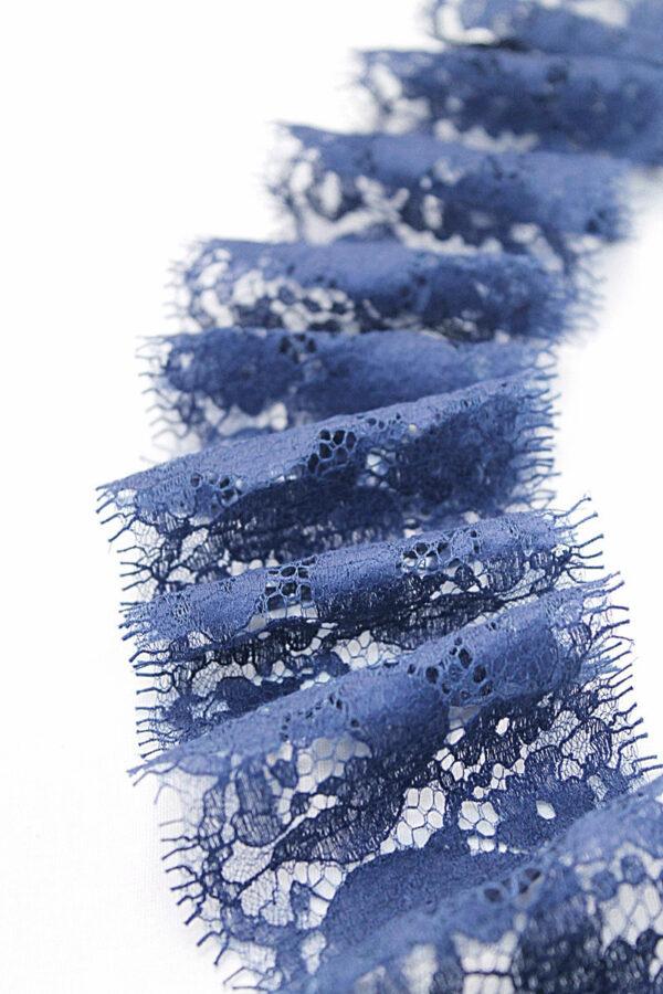 Кружево отделочное синее в крупный цветочек (t0176) К-2 - Фото 8