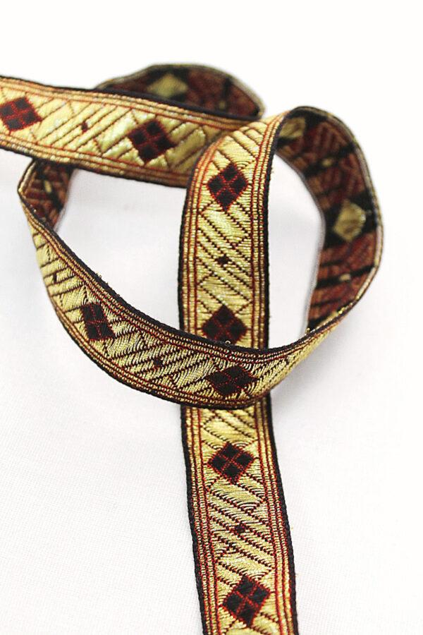 Тесьма отделочная золотая с красными ромбами (t0181) К-8 - Фото 7