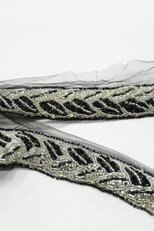 Тесьма с бисером на черной сетке (t0196) К-11 - Фото 8
