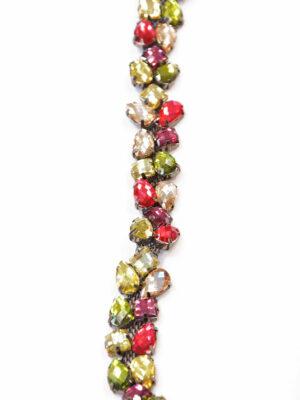 Тесьма разноцветные камни стразы на металлической основе (t0283) К-11 - Фото 13