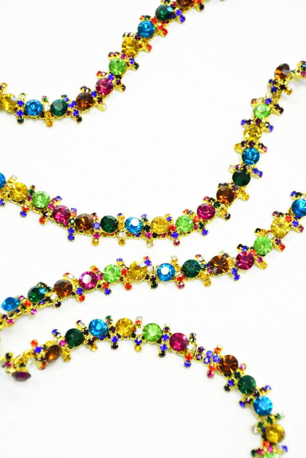 Тесьма с разноцветными кристаллами на металлической основе (t0288) К-14 - Фото 6