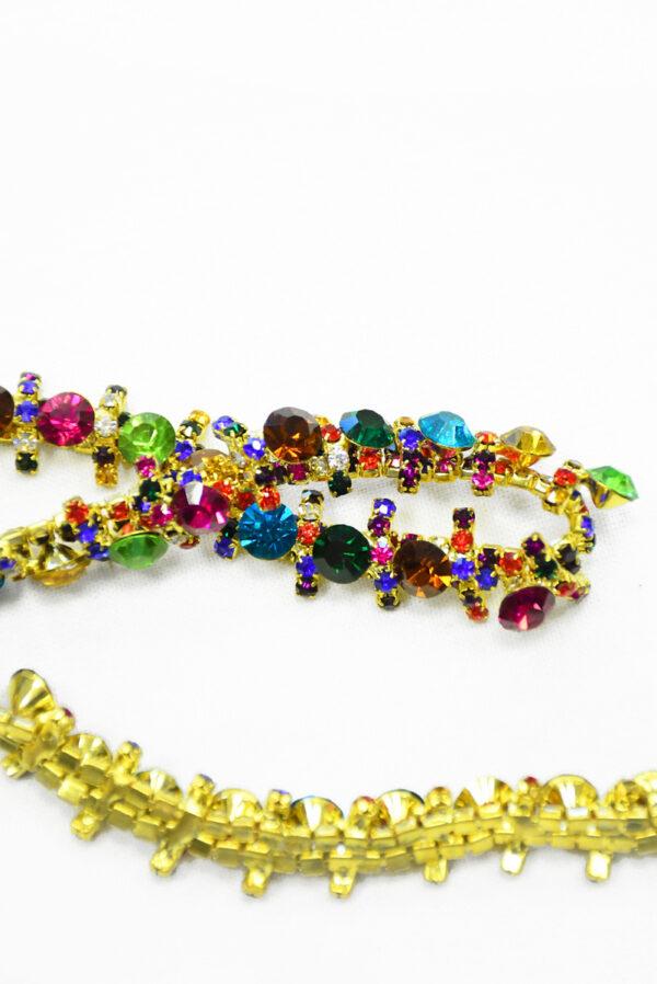 Тесьма с разноцветными кристаллами на металлической основе (t0288) К-14 - Фото 8