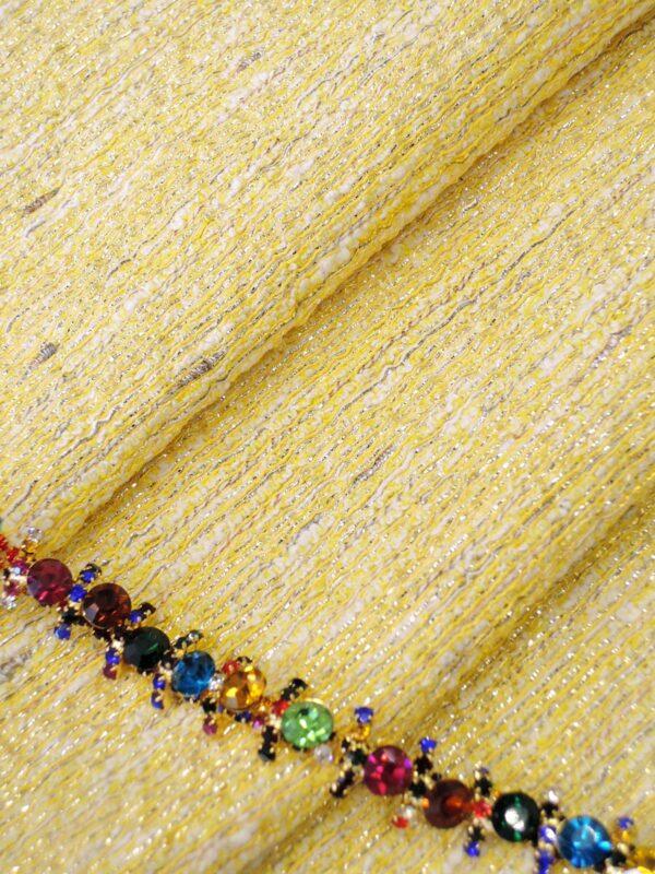 Тесьма с разноцветными кристаллами на металлической основе (t0288) К-14 - Фото 10