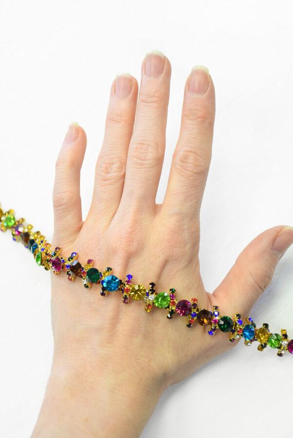 Тесьма с разноцветными кристаллами на металлической основе (t0288) К-14 - Фото 7