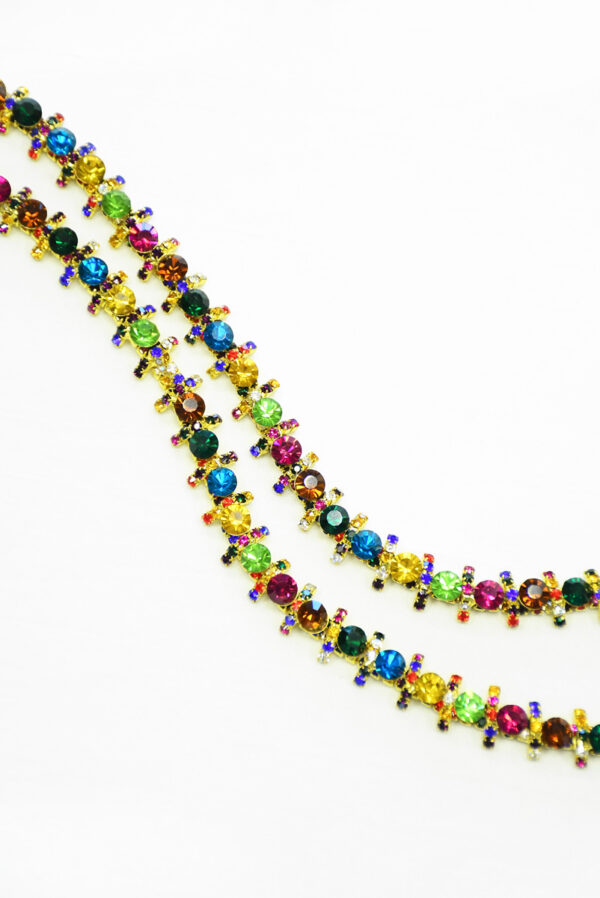 Тесьма с разноцветными кристаллами на металлической основе (t0288) К-14 - Фото 9