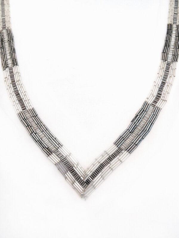 Декор для декольте вышитый стеклярусом графитового и серо-бежевого оттенка (t0314) - Фото 6