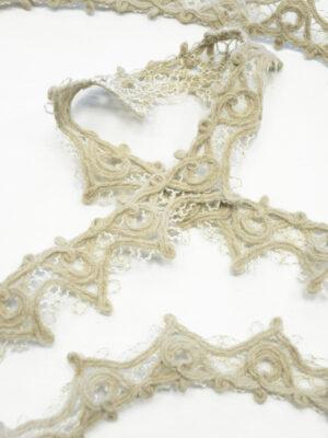 Тесьма шерстяная бежевая с белым (t0344) К-9 - Фото 15