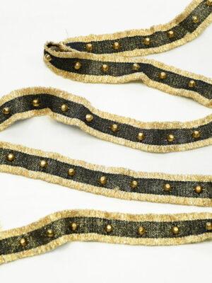 Тесьма черная с золотой бахромой заклепками люрексом
