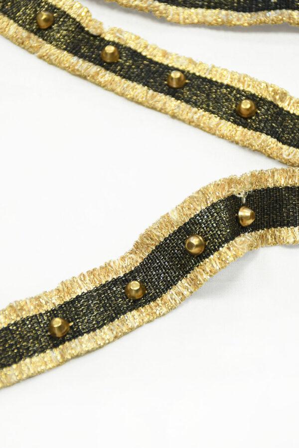 Тесьма черная с золотой бахромой заклепками люрексом 2