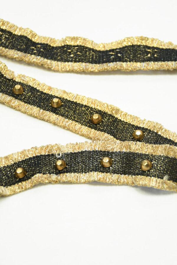 Тесьма черная с золотой бахромой заклепками люрексом 3