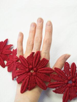 Тесьма макраме красные цветы ромашки (t0369) к-10 - Фото 14