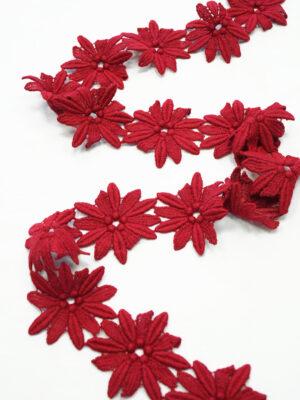 Тесьма макраме красные цветы ромашки (t0369) к-10 - Фото 13
