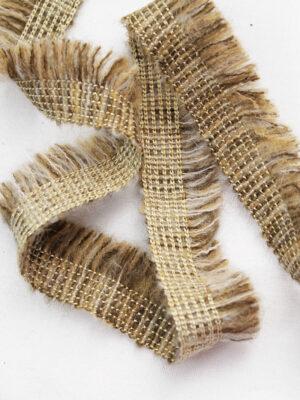 Тесьма отделочная коричневый меланж с бахромой и золотой нитью (t0397) к-6 - Фото 10