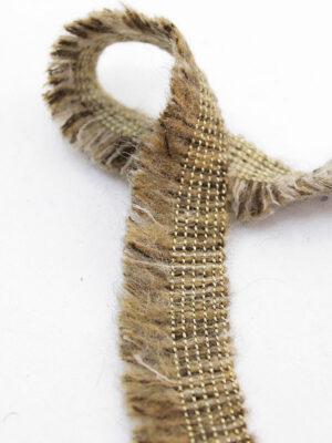 Тесьма отделочная коричневый меланж с бахромой и золотой нитью (t0397) к-6 - Фото 11