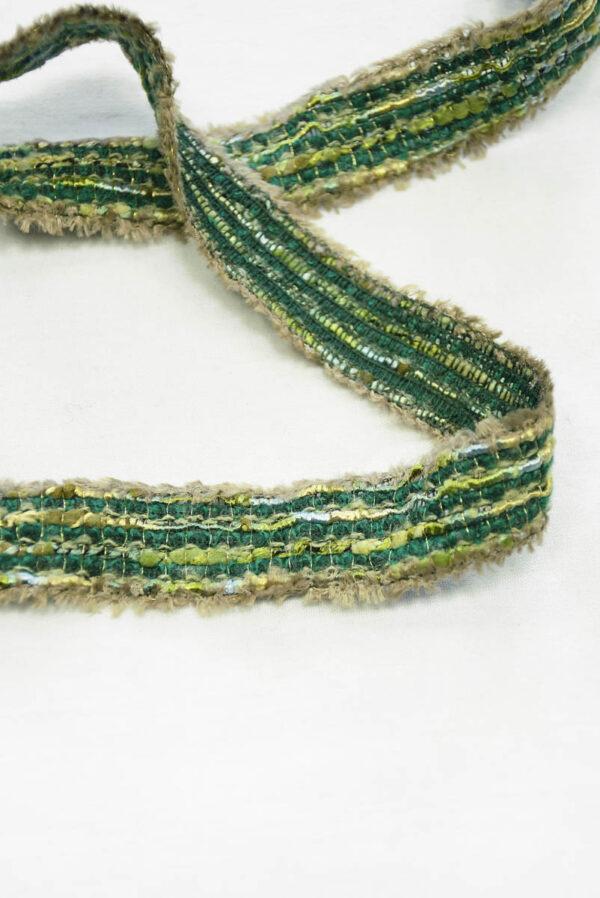 Тесьма отделочная зеленая с бежевым (t0405, 0553) т-6 - Фото 9