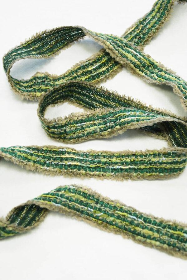 Тесьма отделочная зеленая с бежевым (t0405, 0553) т-6 - Фото 6