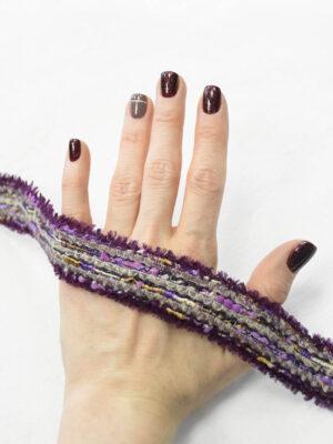 Тесьма отделочная велюровая фиолетовая с эффектом меланж (t0406) к-6 - Фото 12