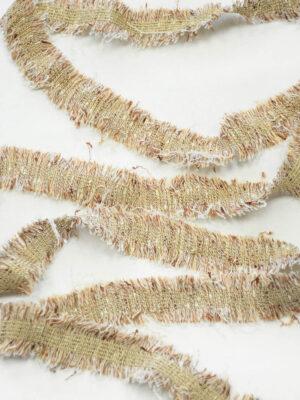 Тесьма бежевая с коричневым меланж бахрома (t0414) к-8 - Фото 16