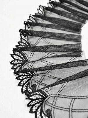 Кружево отделочное стрейч черное с листочками (t0541) т-20 - Фото 10