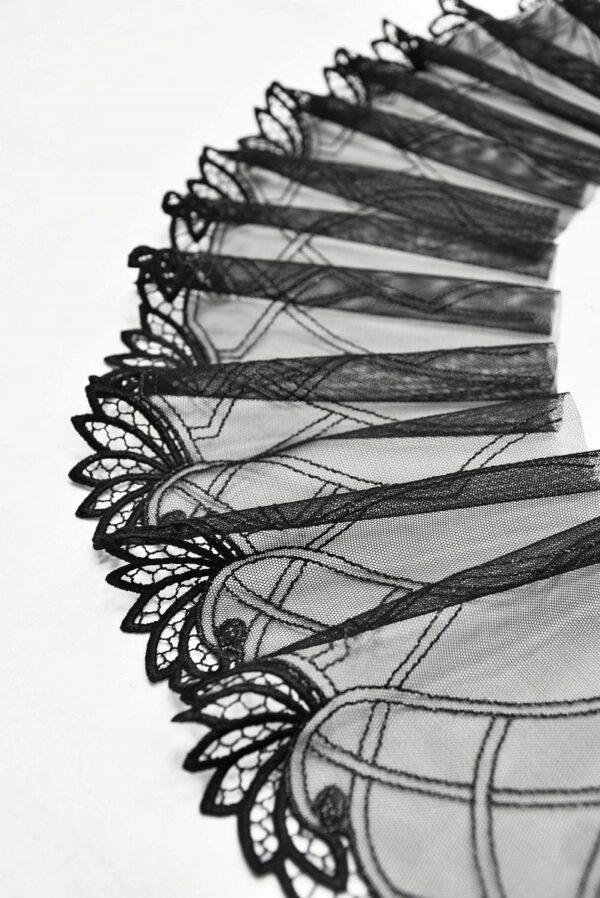 Кружево отделочное стрейч черное с листочками (t0541) т-20 - Фото 6