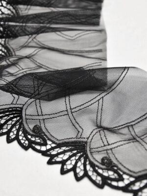 Кружево отделочное стрейч черное с листочками (t0541) т-20 - Фото 11